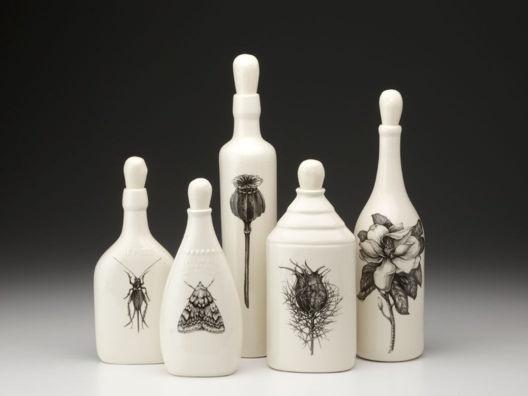 Set of 5 Botanical Bottles by Laura Zindel