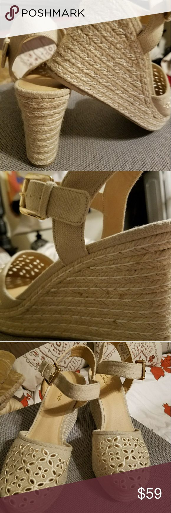 """🛍 Skecher wedges NWOT Cali Turtledove espadrille wedge sandal. Adjustable ankle strap with summery canvas eyelet cut out over vamp. Comfortable cushioned insole and balanced wedge. Platform height: 1 1/4"""" and heel height 3 1/4"""". Skechers Shoes Wedges"""