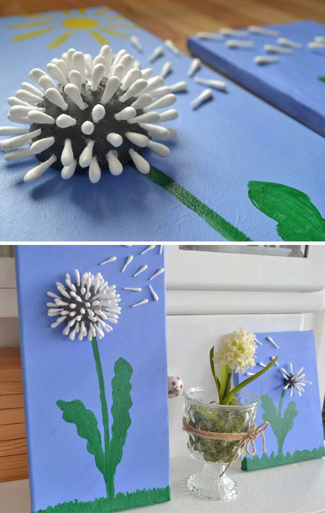 Cotton bud dandelion Mother's Day craft
