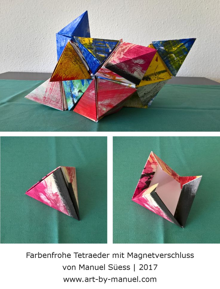 Farbenfrohe Tetraeder mit Magnetverschluss von Manuel Süess | Mehr erfahren: http://art-by-manuel.com/de/farbenfrohe-tetraeder-mit-magnetverschluss/