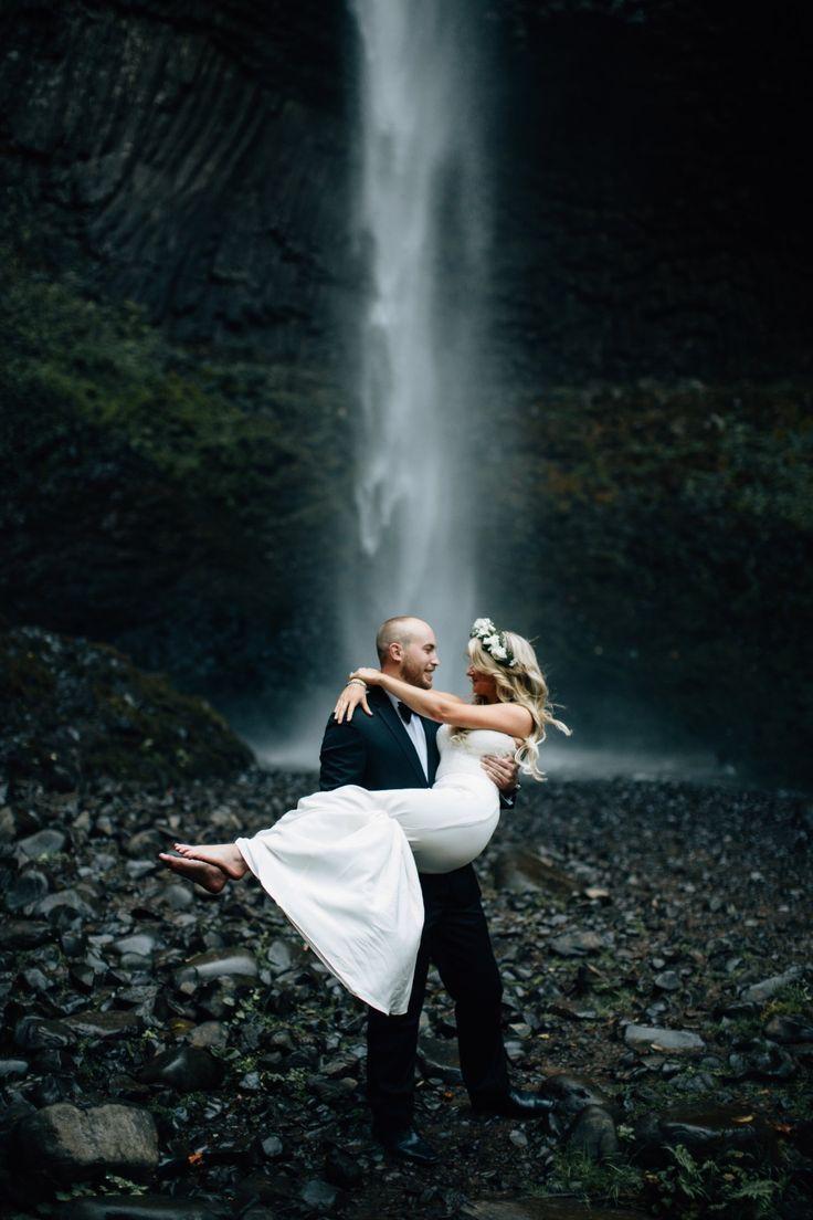 waterfall wedding photo idea
