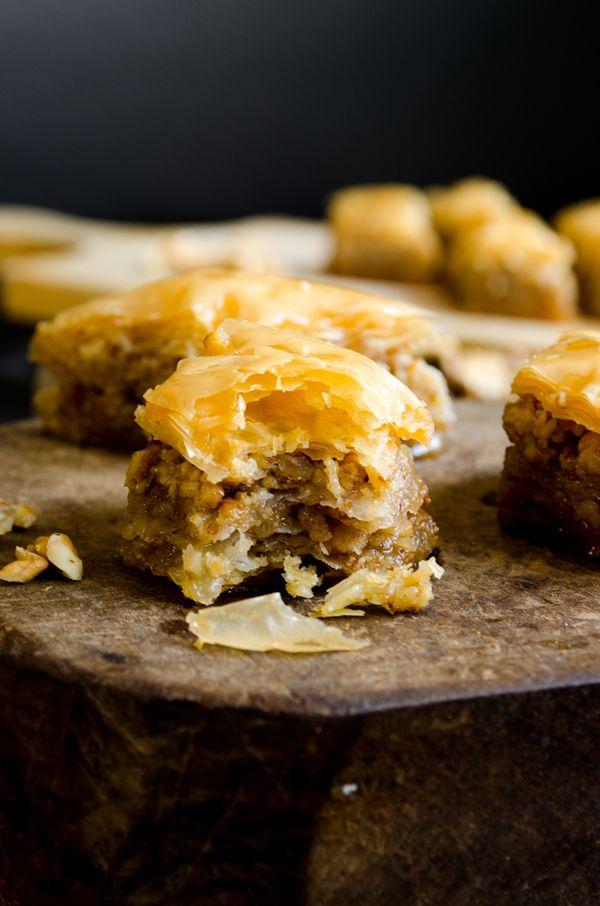 Homemade baklava with walnuts.  The thinner and crispier, the better!   giverecipe.com   #baklava #turkish #dessert
