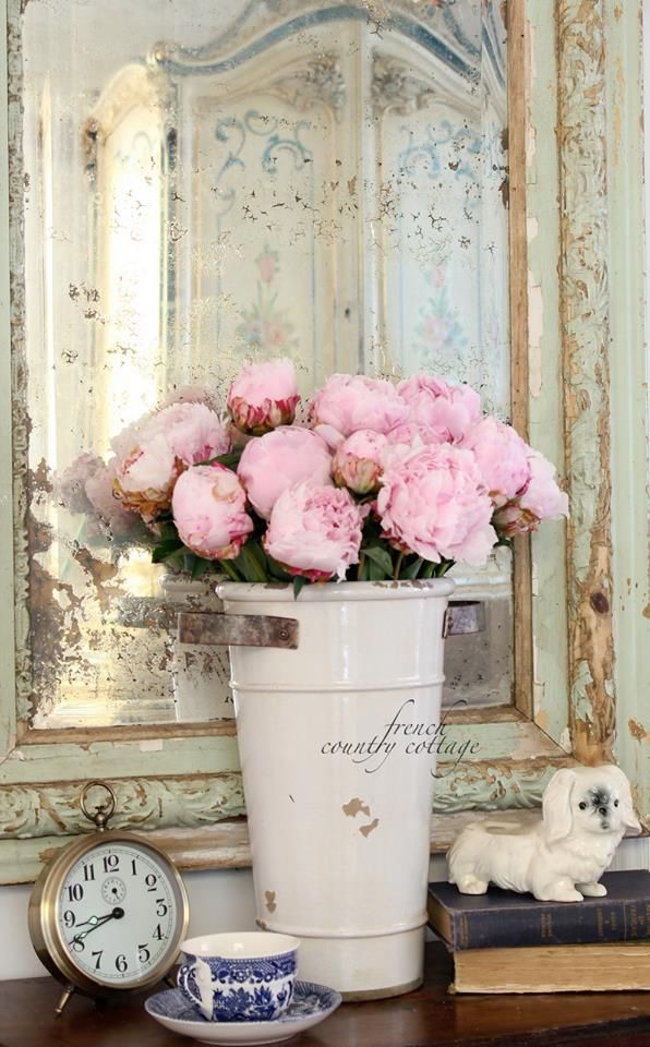 Pink peonies in a shabby chic vignette