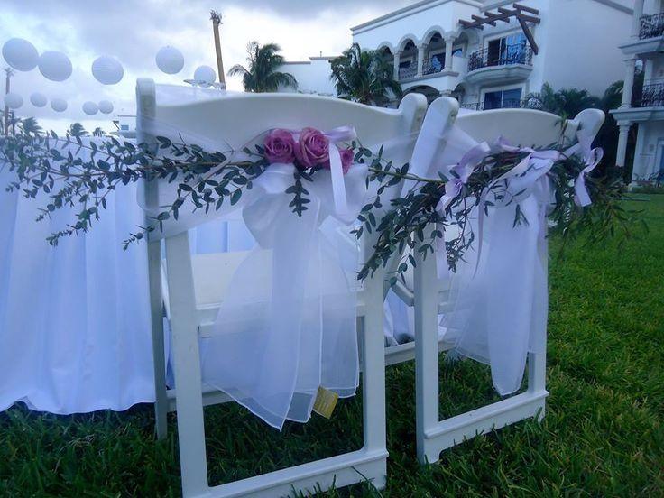 CBA124 Sweetheart chairs decoration, greenery and your favorite floral, / Bodas Decoracion para silla de mesas de novios