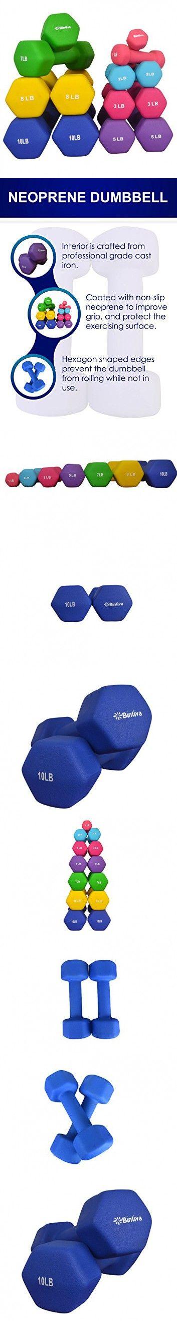 Bintiva Professional Grade, Non Slip Grip, Neoprene Coated Dumbbells 10 LB Pair - Blue