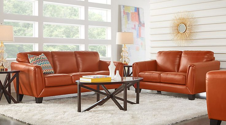 Livorno Papaya Leather 2 Pc Living Room.1188.0.  Find affordable Living Room Sets for your home that will complement the rest of your furniture. #iSofa #roomstogo