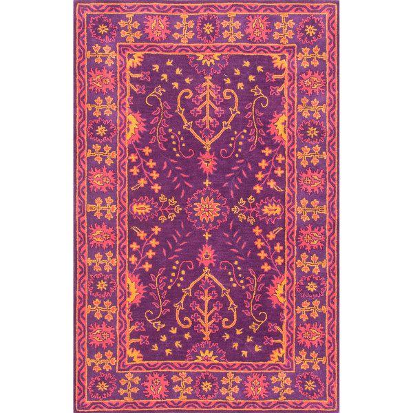 nuLOOM Handmade Floral Persian Wool Purple Rug (5' x 8')