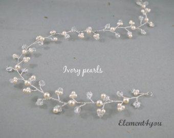 Vides de pelo nupcial Swarovski Marfil perlas de por Element4you