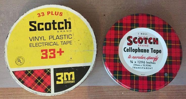 Vintage Scotch Cellophane Tape Tin 3 Inch & Scotch Vinyl Electrical Tape Tin 3M #Scotch