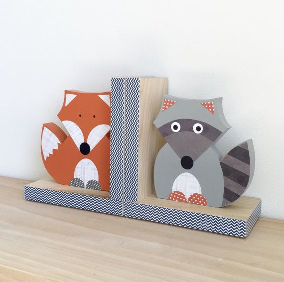 Forest Animal Bookends Fox and Raccoon Bookends by MapleShadeKids