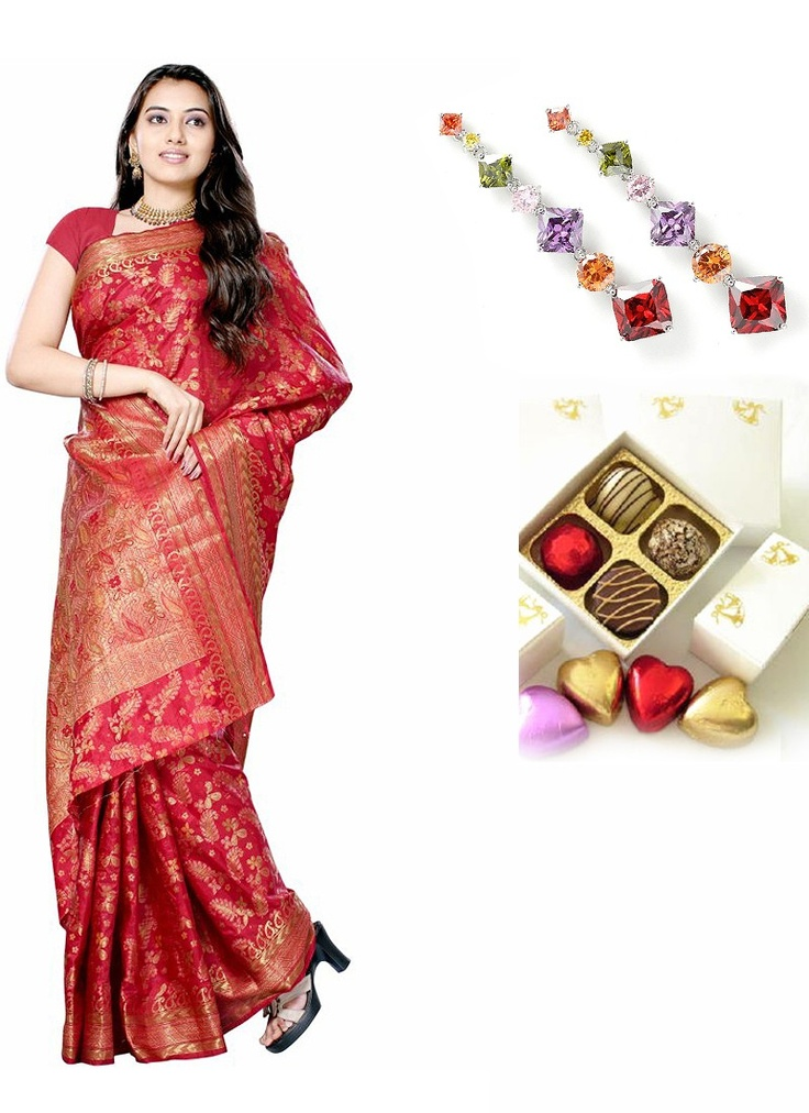 Brocade Red Silk Saree CZ Earrings Chocolates Sister Rakhi Thank You Hamper