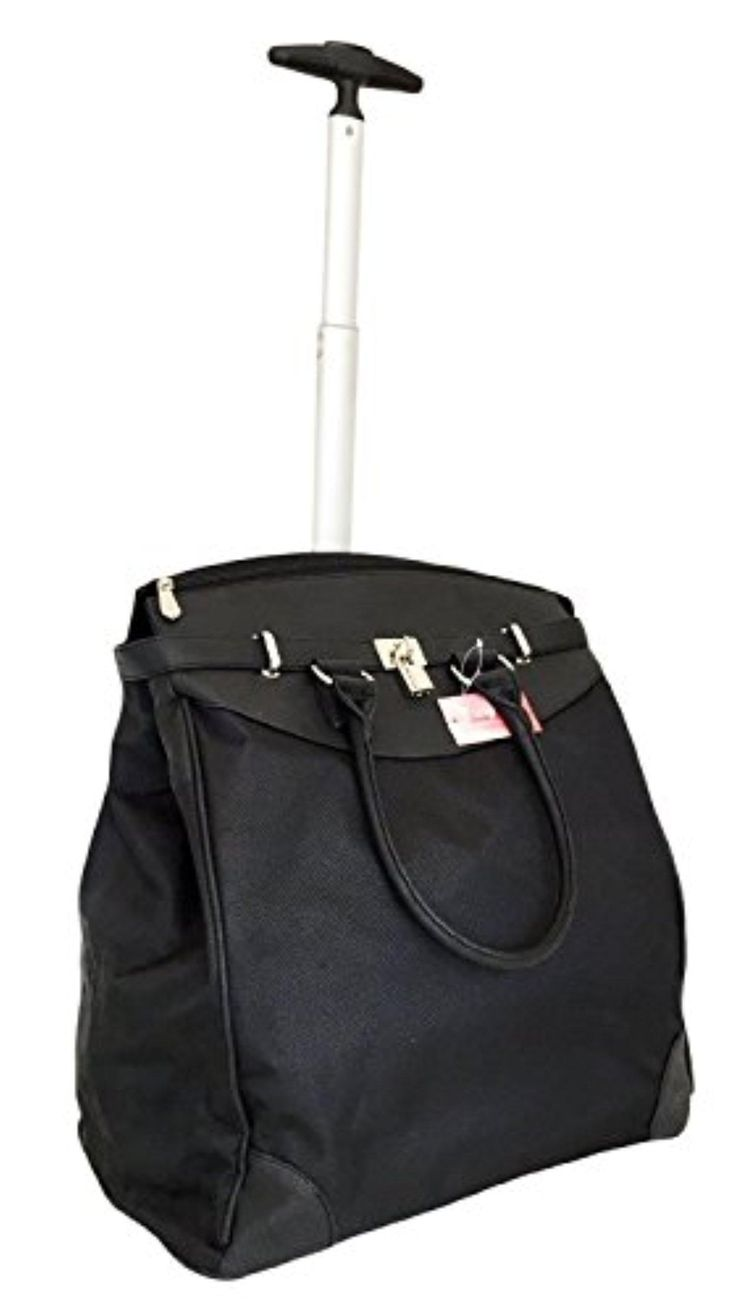Trendy Flyer Computer/Laptop Rolling Bag 2 Wheel Case Plain Black - Brought to you by Avarsha.com