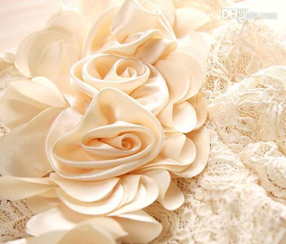 Chiffon roses on a lace blouse