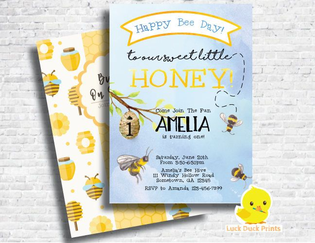 Bumble Bee Party Invitation | Bumble Bee 1st Birthday Party | Bumble Bee Invitation | First birthday | Honey Bee invite | Happy Bee Day | DIGITAL FILE ONLY #122  * This is a printable file and no physical items will be mailed to you.  --------------★★★ PURCHASING INSTRUCTIONS ★★★--------------  * Purchase this item and complete checkout.  Upon check-out, please leave the following information in NOTE TO SELLER:  1. Name & Age 2. Party Date 3. Time 4. Address & Venue 5. RSVP Informatio...