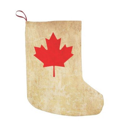 Original Vintage Patriotic canadian red leaf Small Christmas Stocking - original gifts diy cyo customize