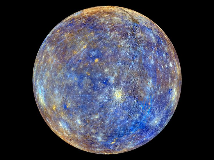NASA - Colors of the Innermost Planet: This colorful view of Mercury was produced by using images from the color base map imaging campaign during MESSENGER's primary mission. These colors are not what Mercury would look like to the human eye, but rather the colors enhance the chemical, mineralogical, and physical differences between the rocks that make up Mercury's surface.