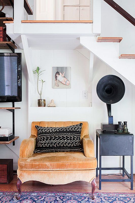 A modern gramophone for iPhones and iPods sums up the look of this home.: Velvet Chairs, Canyon Cottages, Spaces, Ideas, Golden Velvet, Laurel Canyon, Living Rooms, Interiors Design, White Wall