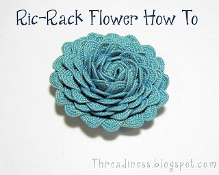 Looks really simple with a good tutorial to follow! Rick Rack Flower or Rose Tutorial -- Threadiness