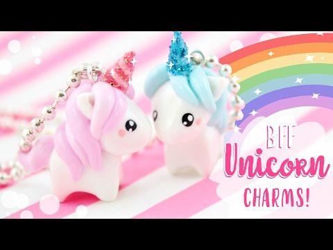 BFF Kawaii Unicorn Charms polymer clay tutorial
