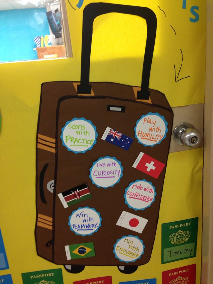 Boosterthon Big World Recess Door Decor Suitcase Flags