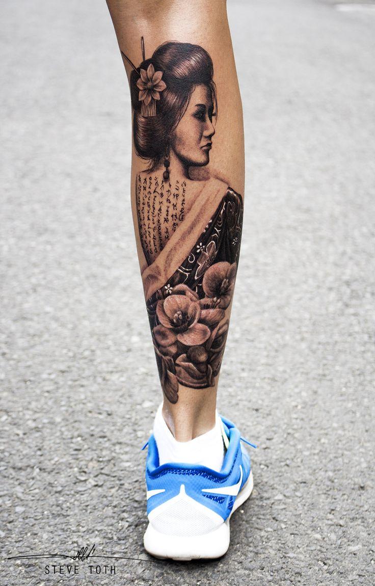 Geisha girl cherry flowers tattoo - Steve Toth