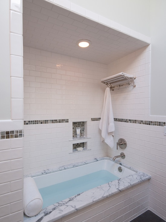 Tile inset bathroom small traditional cape cod style for Cape cod bathroom design
