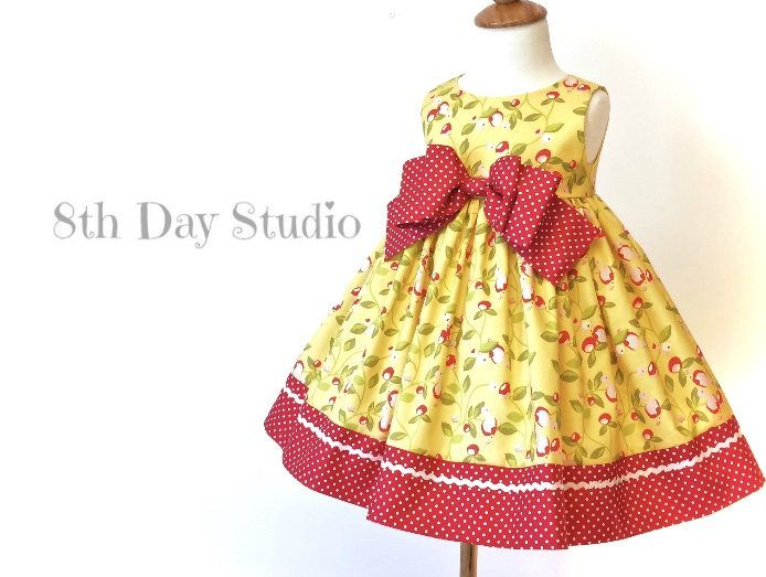 Toddler Easter Dress, Girls Easter Dress, Red and Yellow, Bow Dress,  Church, Wedding, Special Occasions, Sizes 2T - 6 by 8th Day Studio by 8thDayStudio on Etsy