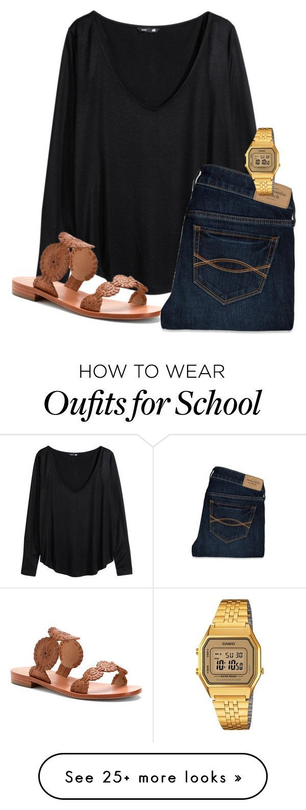 """""""One before I leave for school"""" by mmapp on Polyvore featuring H&M, Jack Rogers, Abercrombie & Fitch and Casio"""