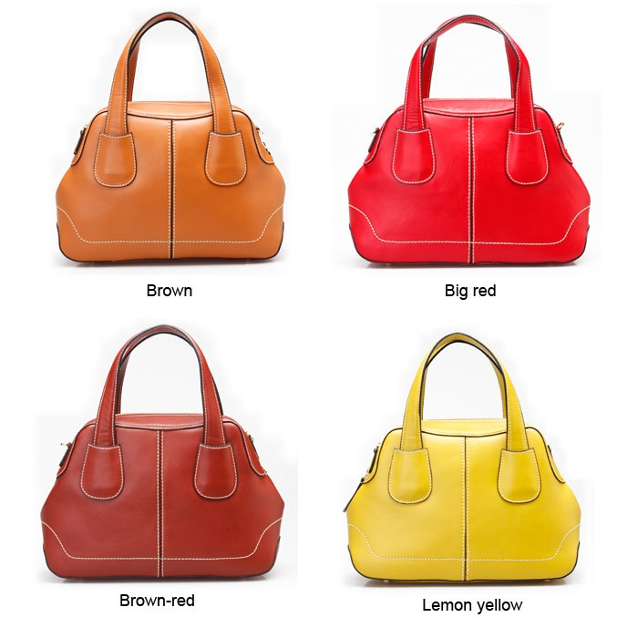 brown/big red/brown-red/lemon yellow fashion leather crossbody shoulder bag handbag for women