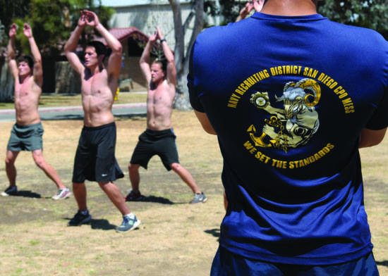 Naval Special Warfare candidates perform jumping jacks during a Navy Recruiting District San Diego weekly Navy Special Warfare Physical Screening Test, June 24, 2013. The Navy Recruiting Command conducts monthly boards throughout 26 districts to nominate the top candidates to fill Navy Special Warfare billets, which include SEAL, explosive ordnance disposal, special warfare boat operator, Navy diver, and naval air crewman. U.S. Navy photo by Chief Mass Communication Specialist Anastasia…