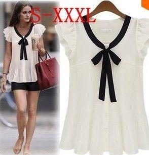 2014 nuevas de la manera camisas de las mujeres de talla gasa blusa superior pajarita blanca S-XXXL # D66933