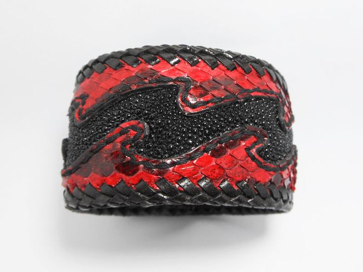 Black Stingray Wave Leather Cuff Bangle,Red Men Snake Leather Cuff, Men Leather Bracelet,Cuff,Bracelet,Men Cuff.Leather Cuff,Wave,Red,Black by Supsilver on Etsy