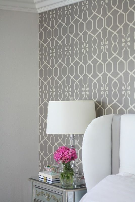 Master Bedroom Redesign {The Wallpaper} and walls painted a very soft serene color: Pale Oak, Benjamin Moore. So lovely~