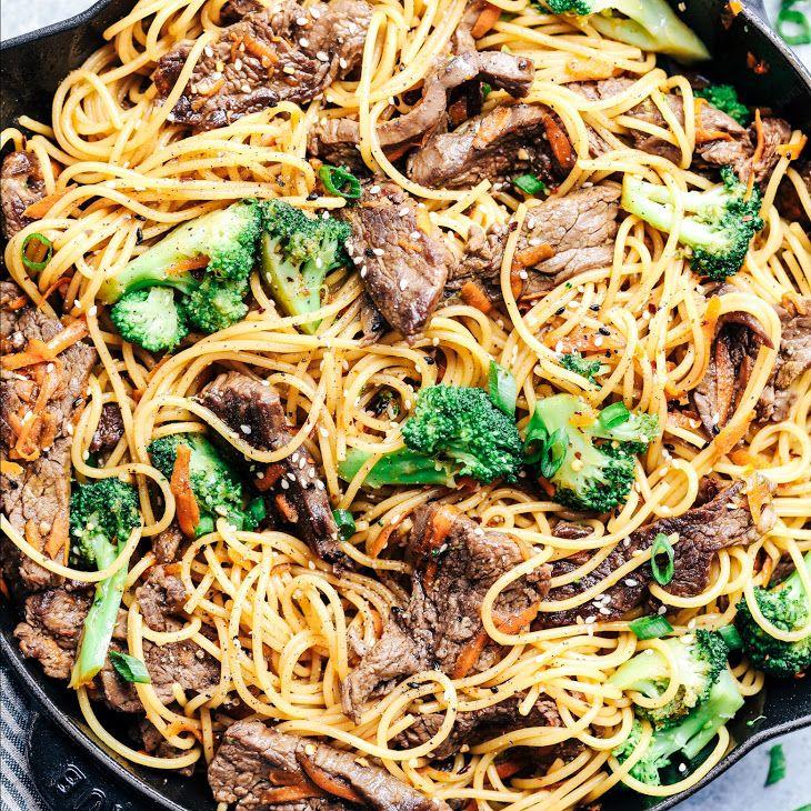 20 Minute Garlic Beef And Broccoli Lo Mein Recipe Yummly Recipe Garlic Beef Lo Mein Recipes Steak And Broccoli