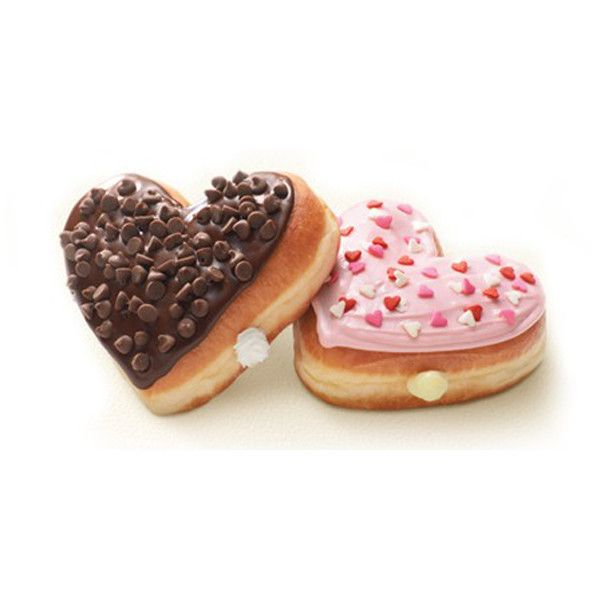 Heart-Shaped Valentine's Day Donuts at Dunkin' Donuts ❤ liked on Polyvore