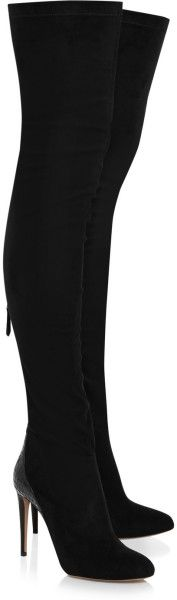 Aquazurra Olivia Palermo Suede and Glossed Elaphe Thigh Boots @Lyst