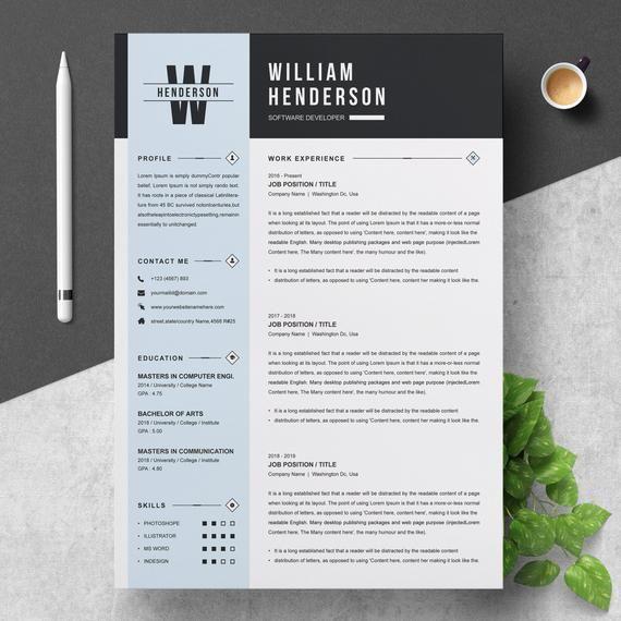 Professional Resume Template Etsy Resume Template Professional Resume Template Resume Design