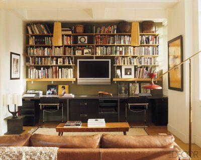 Desk for 2, filing storage, media shelves, TV & books