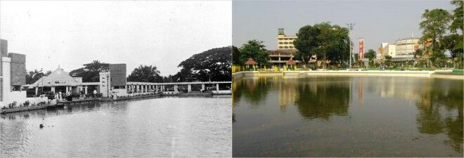 Medan Then & Now. Left : The Derikanpark Medan 1936. Right : Taman Sari Medan 2013.