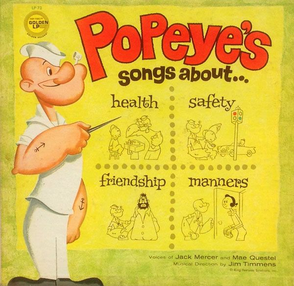 "POPEYE'S SONGS OF HEALTH, SAFETY, FRIENDSHIP & MANNERS Golden Records LP-73 (12"" 33 1/3 RPM LP / Mono / 1961)"