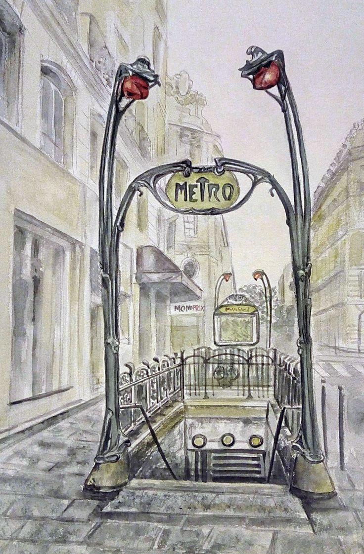 """Парижское метро"" акварель. 45x30см. 2017г.   ""Paris Metropolitain"" watercolor. 45х30cm. 2017."