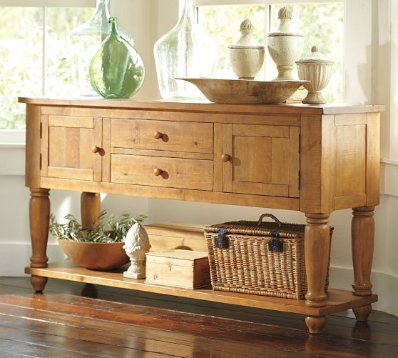 Pottery Barn Sumner Buffet Wax Pine Console Table