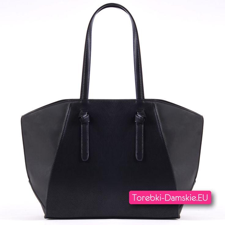 Torba damska A4 - shopper w kolorze czarnym. Najnowszy model w kolekcji, zamykana suwakiem, 5 kieszeni w środku Kliknij i zobacz http://torebki-damskie.eu/czarne/1392-duzy-shopper-czarny-modny-fason.html