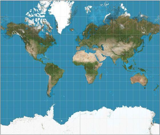 Mapa-múndi com a projeção Mercator. / STREBE / WIKIPEDIA Todos os mapas que você conhece são ruins | Cultura | EL PAÍS Brasil
