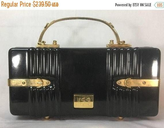 Now On Sale Vintage Crown Lewis Black Box Handbag Purse  Gold#vintagecostumejewelry #giftsforher #onSALE #buynow #shopnow #vintage #fashion #jewelry #martinimermaid #vintagefashion #box #lucite #purse #midcentury