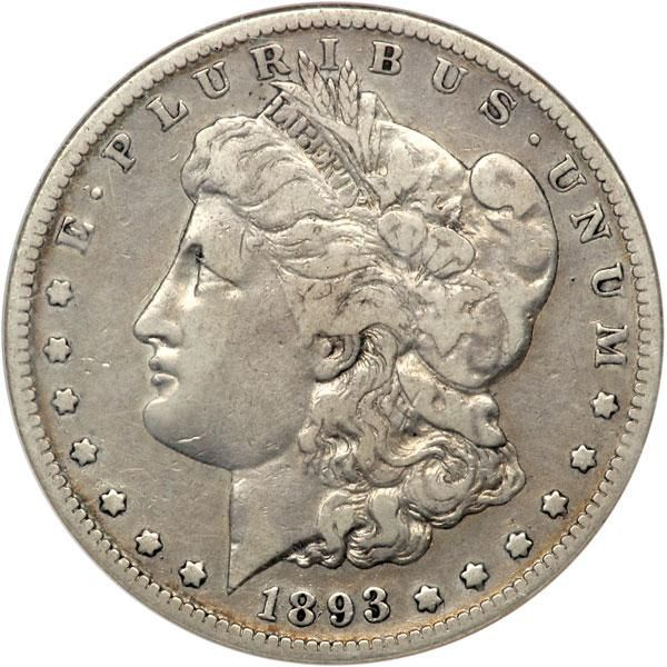 1893-S Morgan Dollar. NGC VF20 Popular key date. Lightly toned and a coin that has plenty of room to squeeze into an even higher grade set of these impressive large silver coins. 1893-S is one of two key dates in the series . Estimated Value $3,700 - 3,900. #Coins #US #Dollars #MADonC