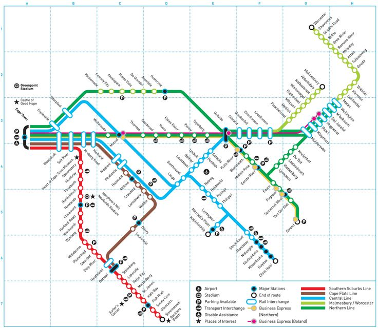 """Submission – Official Map: Metrorail Western Cape, South AfricaSubmitted by Edward Russell, who says:This is the Cape Town Metrorail map as posted in the Cape Town railway station. It's a pretty straight forward map with the lines radiating out to the east of the CBD, though it has some complexity with lines of the same colour operating multiple courses to the same terminal: for example, the green and blue lines.Thoughts?Transit Maps says:Despite the""""Metrorail"""" moniker, this system is…"""
