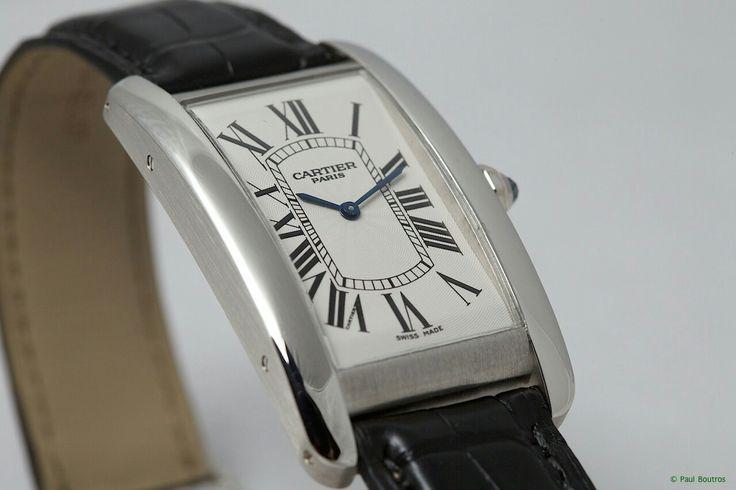 Cartier Tank Americaine Dress Watch on black leather