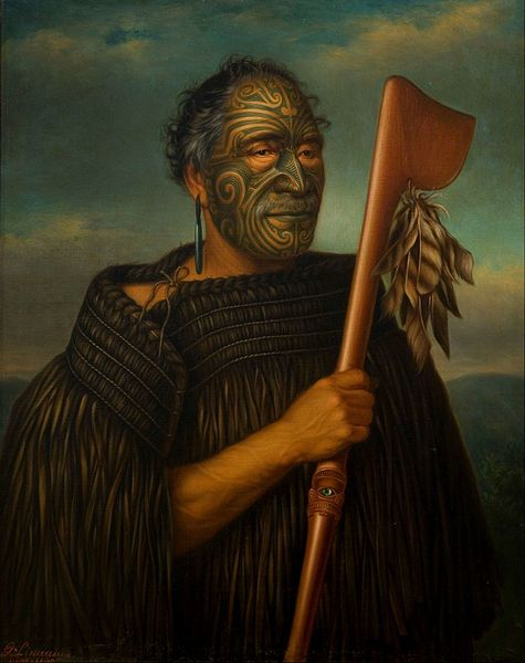 New Zealand | Oil painting of Tamati Waka Nene (c.1785-1871) by Gottfried Lindauer, in 1890. | Tamati Waka Nene was a warrior and chieftan of the Ngati-Hoa tribe in the early 19th century.