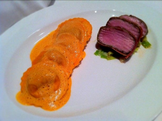 Chorizo and tomato raviolis with sage wrapped pork fillet for Fine dining at home recipes